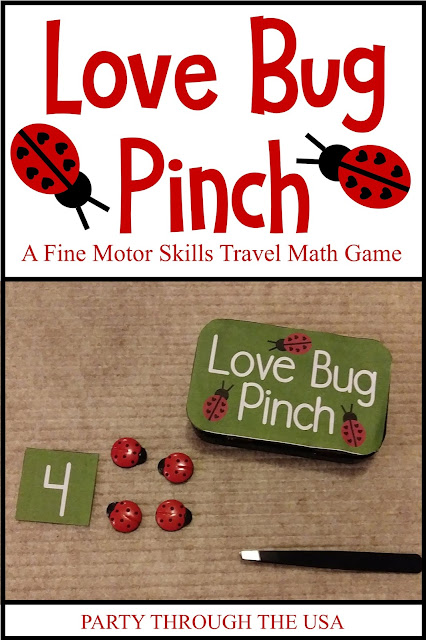 Love Bug Pinch Activity in an Altoid Tin // Party Through the USA // airplane toys // travel toys // DIY travel activities // printables // math // kindergarten