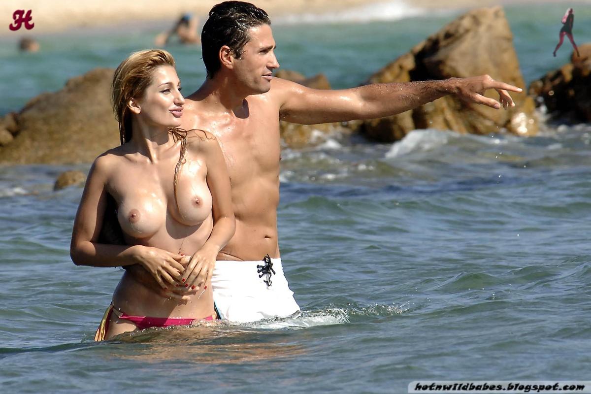 Naked man at public beach