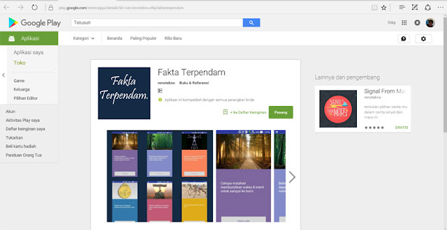 aplikasi sudah terupload pada google play store