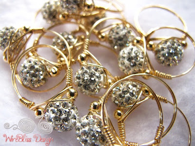 Sparkly wire wrap rings with 14k gold filled wire and beads