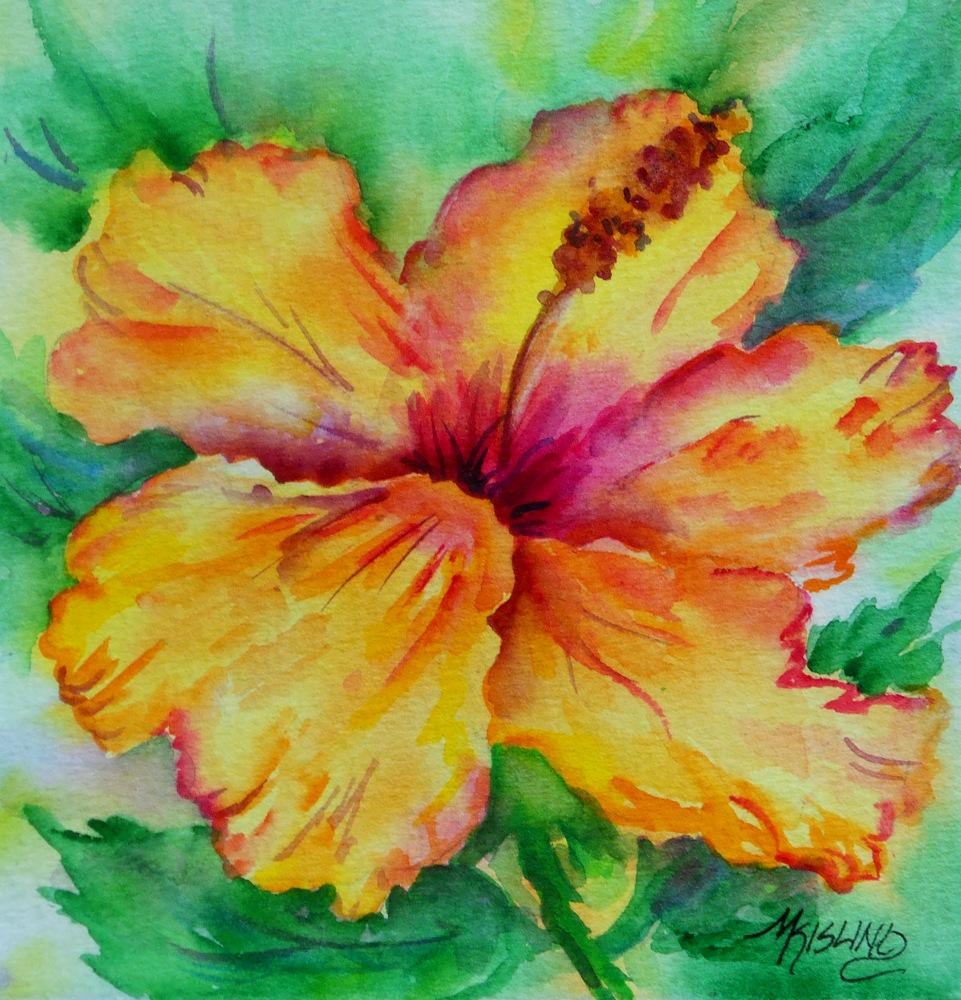 Martha Kisling Art With Heart 6x6 Yellow Hibiscus Watercolor