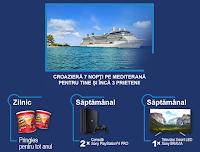 Castiga 1 croaziera pe Mediterana + 1 TV LED Smart Sony BRAVIA + 1 Consola Playstation 4 Pro - concurs - pringles - castiga.net