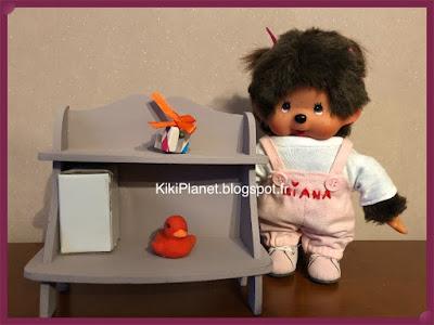Meuble étagère en bois faite main pour Kiki ou Monchhichi, miniature, mobilier, poupée, handmade