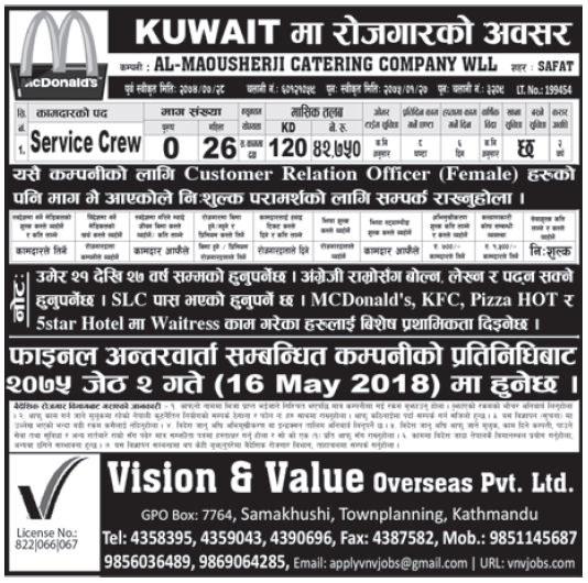 Jobs in Kuwait for Nepali, Salary Rs 42,750