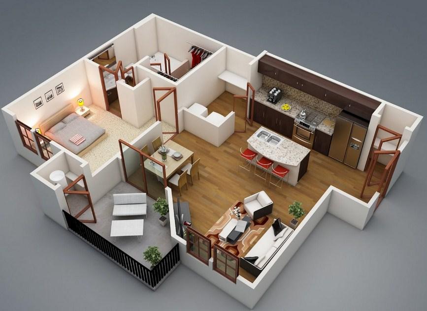 12 Denah Rumah Sederhana 2 Kamar Tidur Model Rumah Minimalis Terbaru
