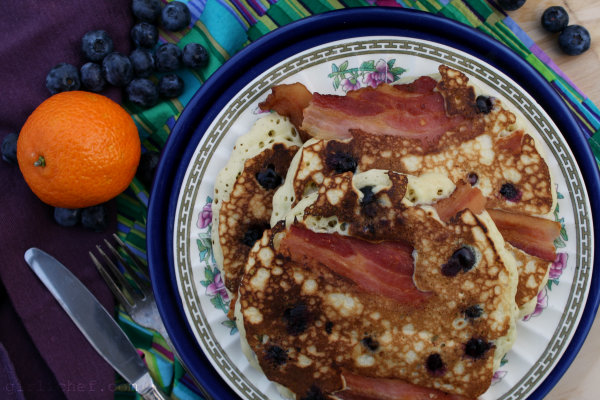 Brown Butter-Blueberry-Bacon Pancakes