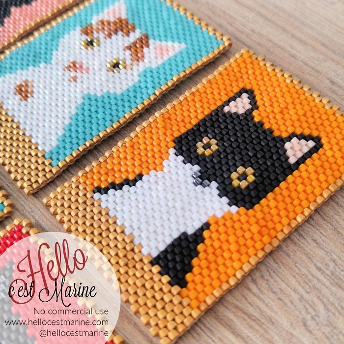 Chat blanc et noir, félix, tuxedo, fond orange, diagramme pour tissage en perles Miyuki delicas 11/0, par Hello c'est Marine
