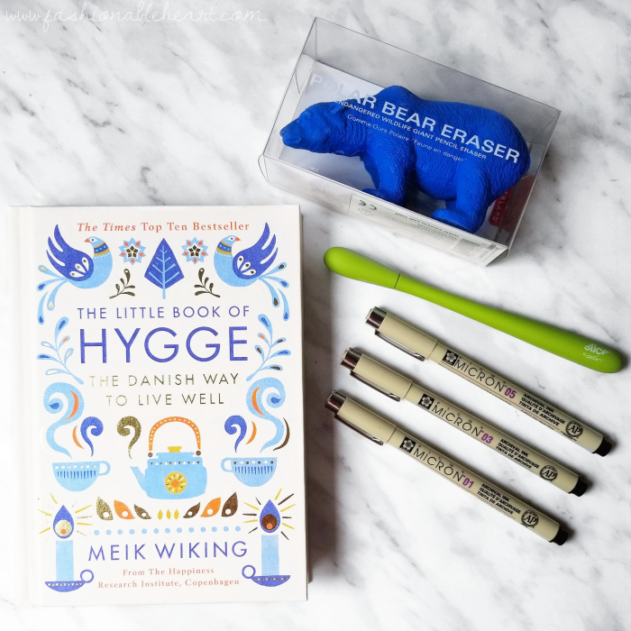 bbloggers, bbloggersca, canadian beauty bloggers, lbloggers, lifestyle, birthday, gifts, my birthday, kikkerland, animal eraser, polar bear, blue polar bear, polar bear eraser, office supplies, the little book of hygge, chapters indigo, pigma micron, pens, slice pen