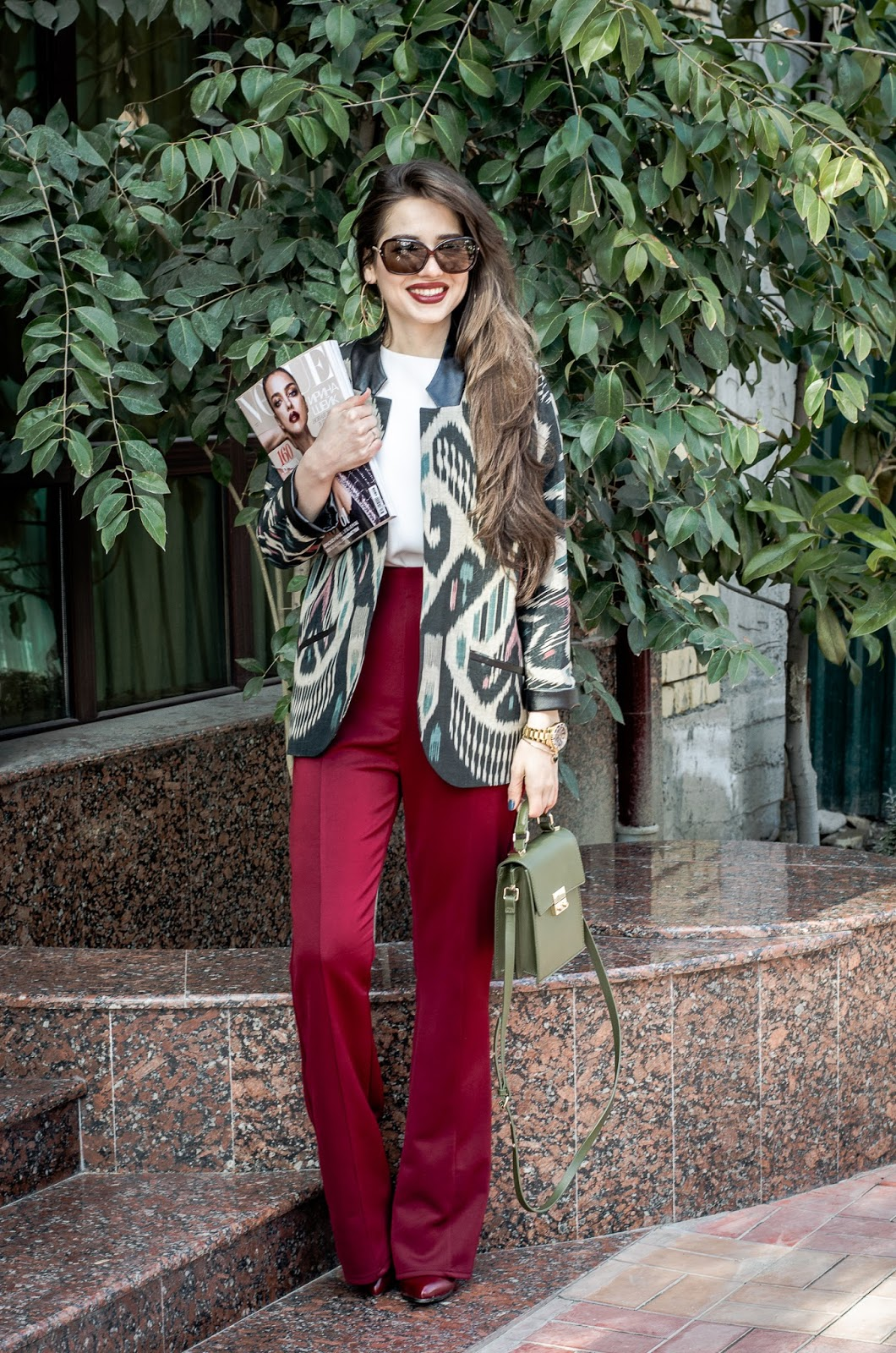 fashion blogger diyorasnotesdiyora beta national uzbel print adras wide leg pants