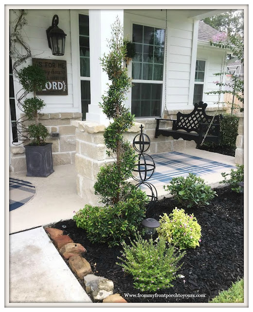 Flower Beds-Curb Appeal-DIY Landscape-Sprial Shrub-Heather-Hawthorns-Porch Swing-From My Front Porch To Yours