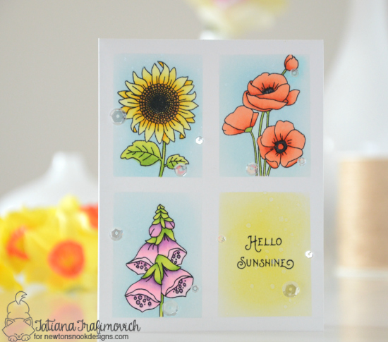 Hello Sunshine Card by Tatiana Trafimovich | Flower Garden Stamp set by Newton's Nook Designs #newtonsnook