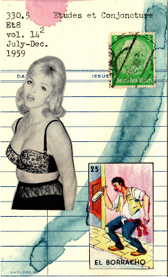 Nietzsche vintage blonde female model lingerie el borracho the drunk mexican lottery card loteria postage stamp library card Dada Fluxus mail art collage