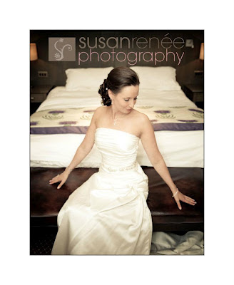 Bride sitting at the end of her wedding bed in Aberdeenshire