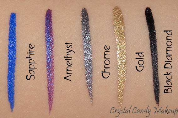 Eyeliner précision couleur intense Artliner 24h de Lancôme - Swatches - Sapphire - Amethyst - Chrome - Gold - Black Diamond