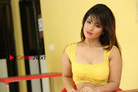 Cute Telugu Actress Shunaya Solanki High Definition Spicy Pos in Yellow Top and Skirt  0560.JPG