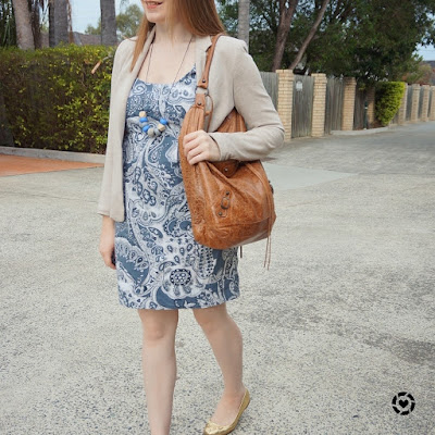 awayfromblue instagram french connection blue paisley print sheath dress, jersey blazer