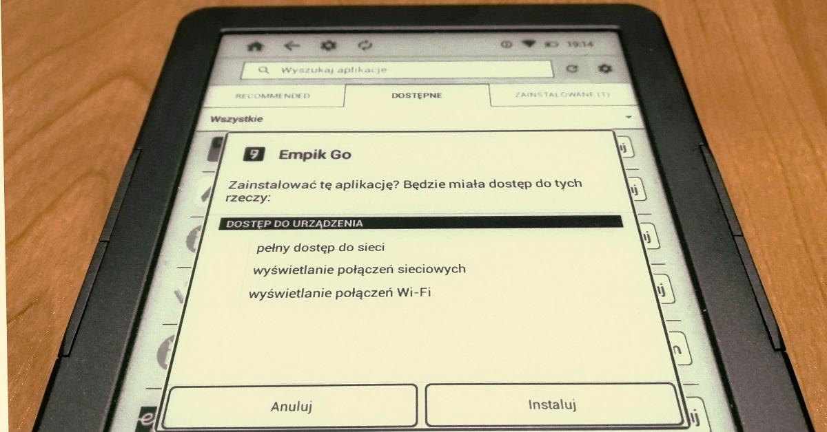 instalacja Empik GO na InkBOOK Classic 2