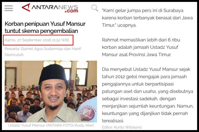 Korban Dugaan Penipuan Yusuf Mansur Tuntut Skema Pengembalian