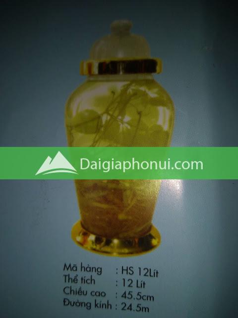 thông số bình ngâm rượu Phú Hoà mã số HS 12 LÍT