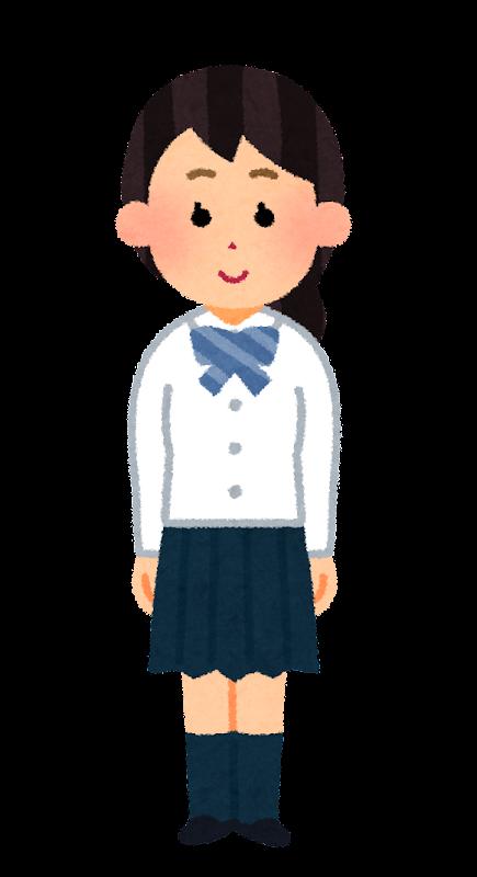 いろいろな合服を着た学生のイラスト女子 かわいいフリー素材集