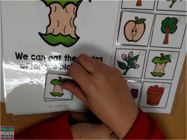 photo of fall interactive books being used by students