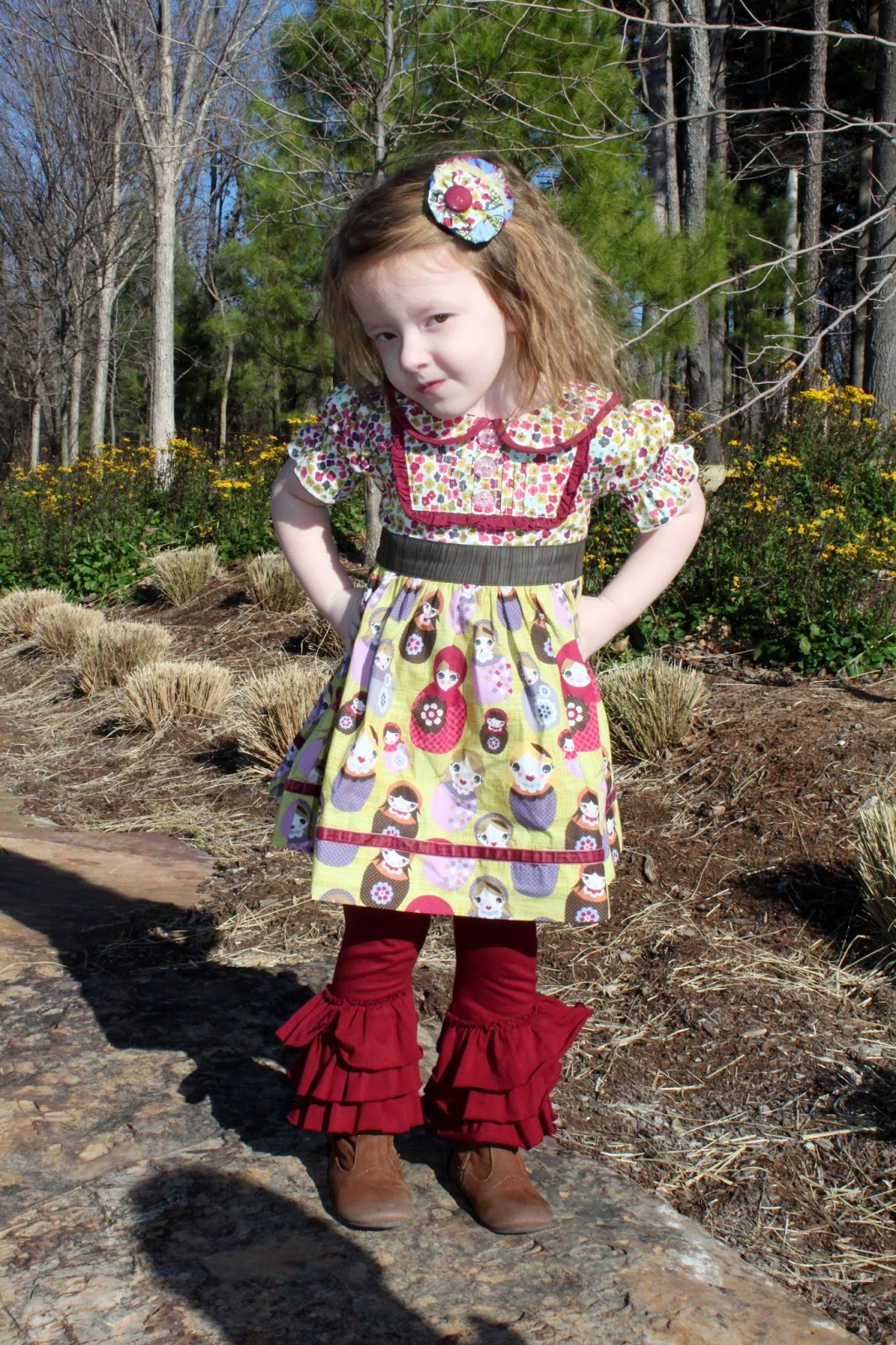 58d729361ecb *Khloe is wearing Matilda Jane Anastasiya Bib Dress, KPea Vintage Airliners  Ruffled Leggings, TCP tall laceback boots and a M2M MJ hairbow.