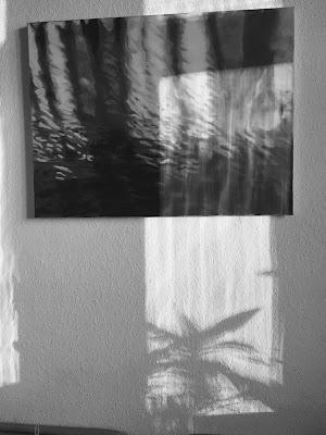 Gemaltes Wasser mit Lichtreflexen und Pflanzenschatten
