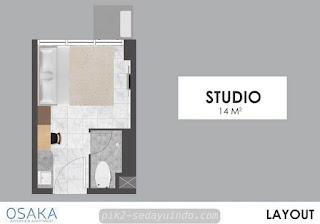 Tipe Studio Apartemen Osaka PIK 2