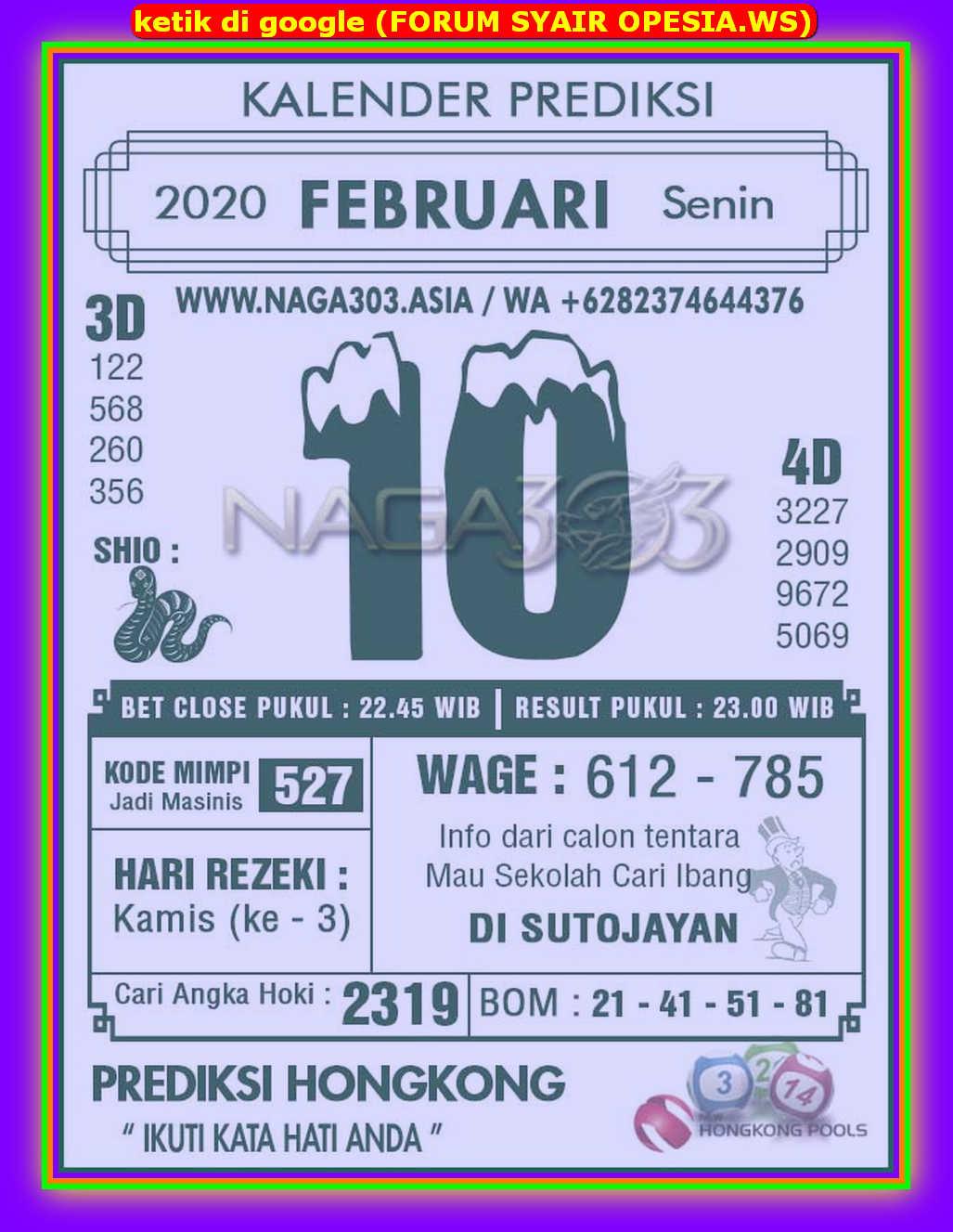 Kode syair Hongkong Senin 10 Februari 2020 129