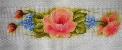 pintura em tecido toalha de chá com rosas