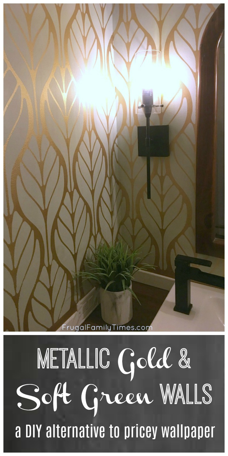 metallic gold and soft green walls a diy paint alternative to pricey wallpaper frugal family. Black Bedroom Furniture Sets. Home Design Ideas