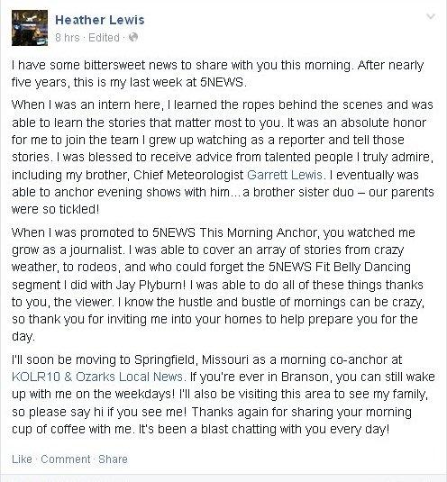 Arkansas TV NEWS: KFSM Anchor Leaving