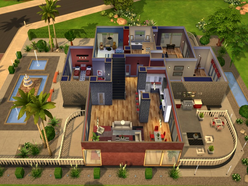 Outdoor Kitchen Frame Aid Grinder Modern Oasis Home | Sims 4 Houses