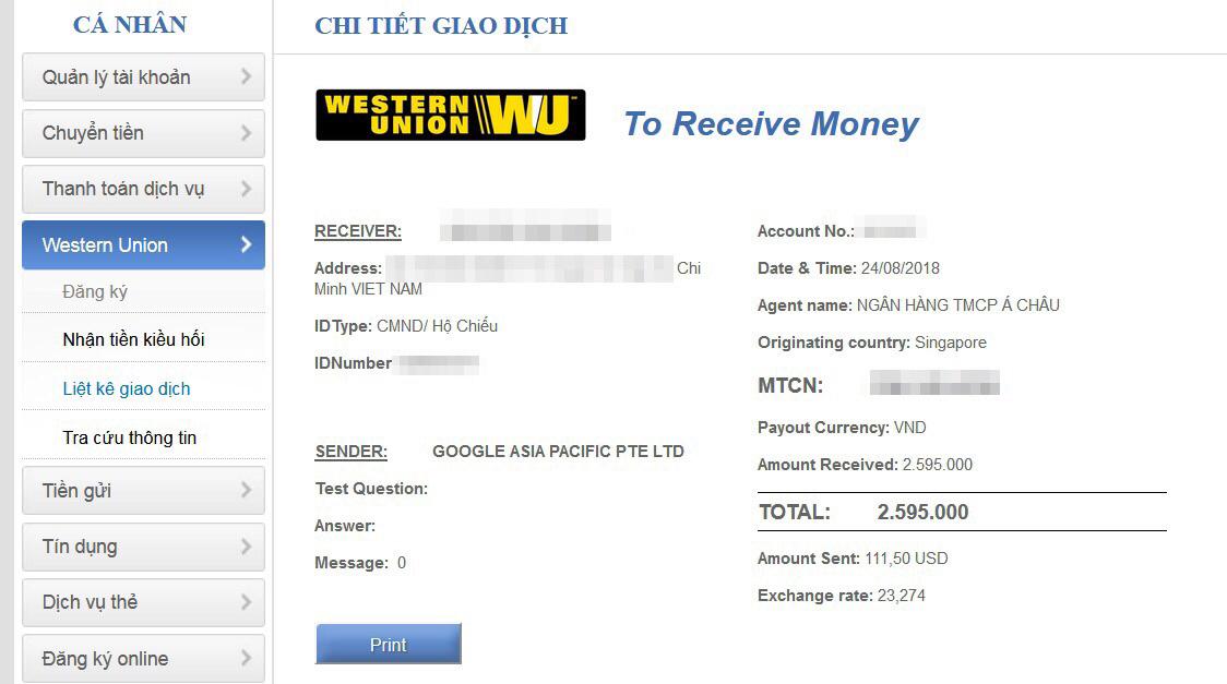 Hướng dẫn nhận tiền Western Union trực tuyến Online