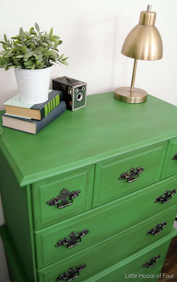 Emerald green and antique wax dresser makeover