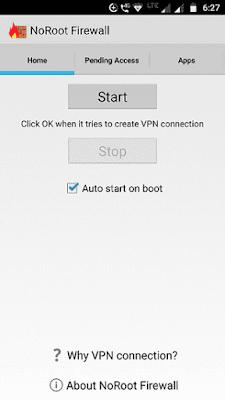 No root firewall home screen