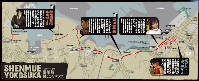 Map of Yokosuka showing the route Ryo follows from Dobuita (on the right) to the harbor (at the left).
