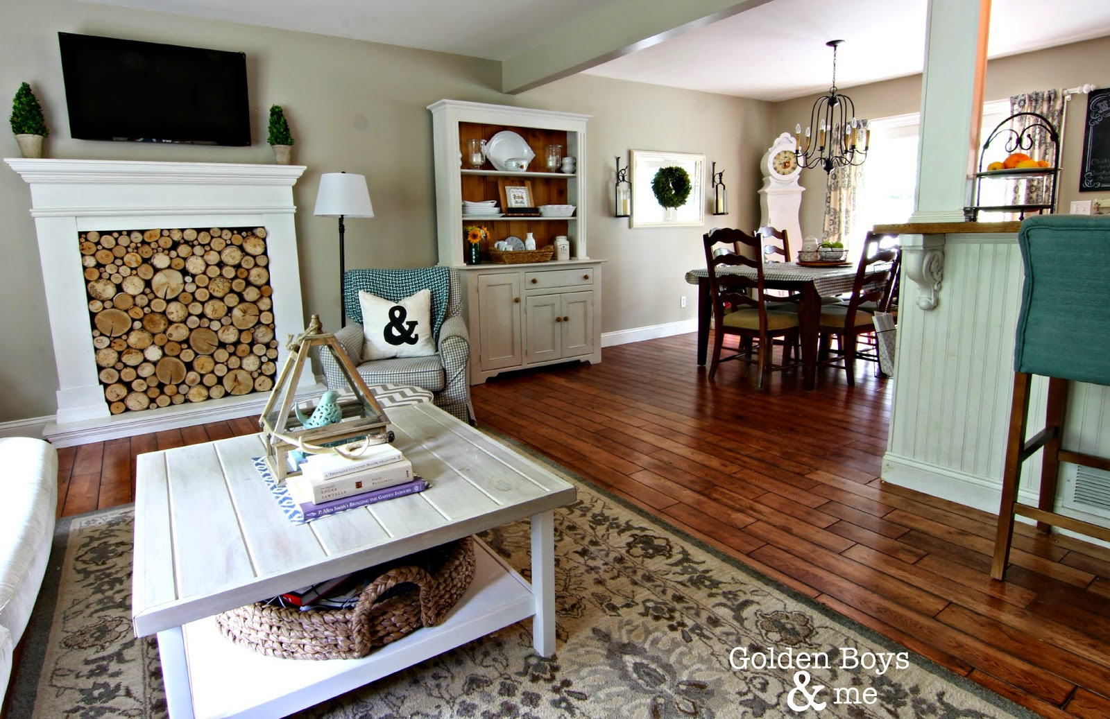 Golden boys and me the painted hutch - Open floor plan living room kitchen dining ...