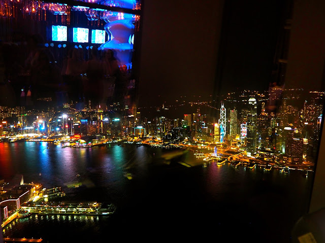 Hong Kong skyline & Victoria Harbour view at night from Ozone bar, ICC