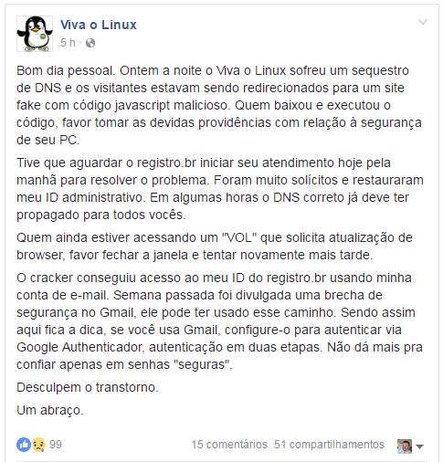Site Viva o Linux sofre sequestro de DNS!