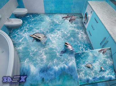 3d dolphin flooring, 3d bathroom floors with dolphin photo printing