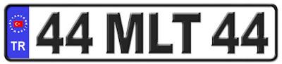 Malatya il isminin kısaltma harflerinden oluşan 44 MLT 44 kodlu Malatya plaka örneği