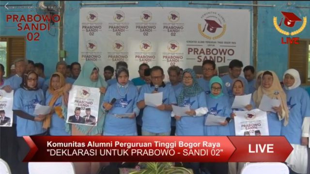 Alumni Perguruan Tinggi se Bogor Raya Dukung Prabowo-Sandi