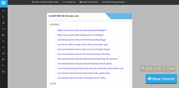 Contoh Cara daftar isi sederhana berdasarkan label Blog