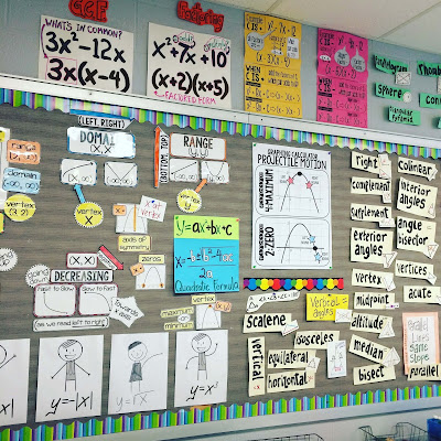 Adding a math word wall to your bulletin board is a great use of empty space. In this post are photos of high school math word walls for algebra, geometry and algebra 2.