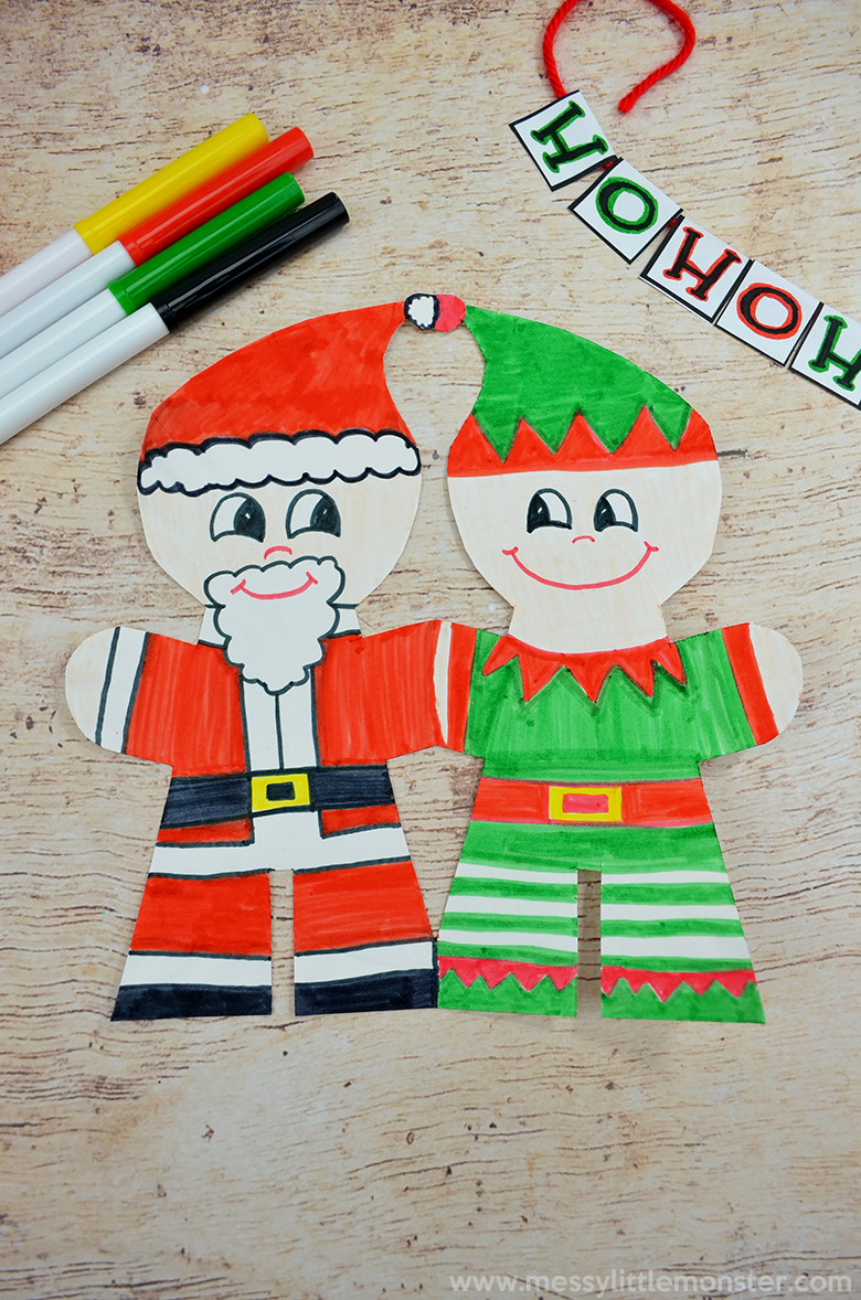 Christmas paper plate craft. Santa craft ane elf craft for kids.