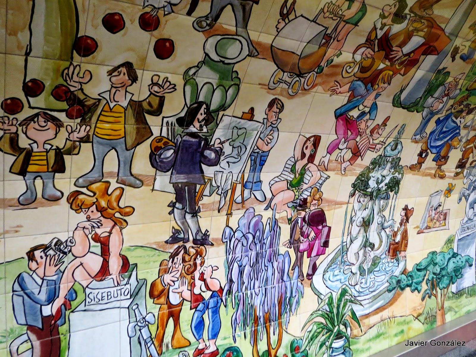 Expometro estación de metro de Retiro. Mingote. Azulejos pintados