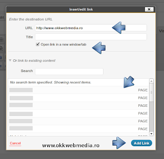 Adaugare link in wordpress - tutoriale-Owm