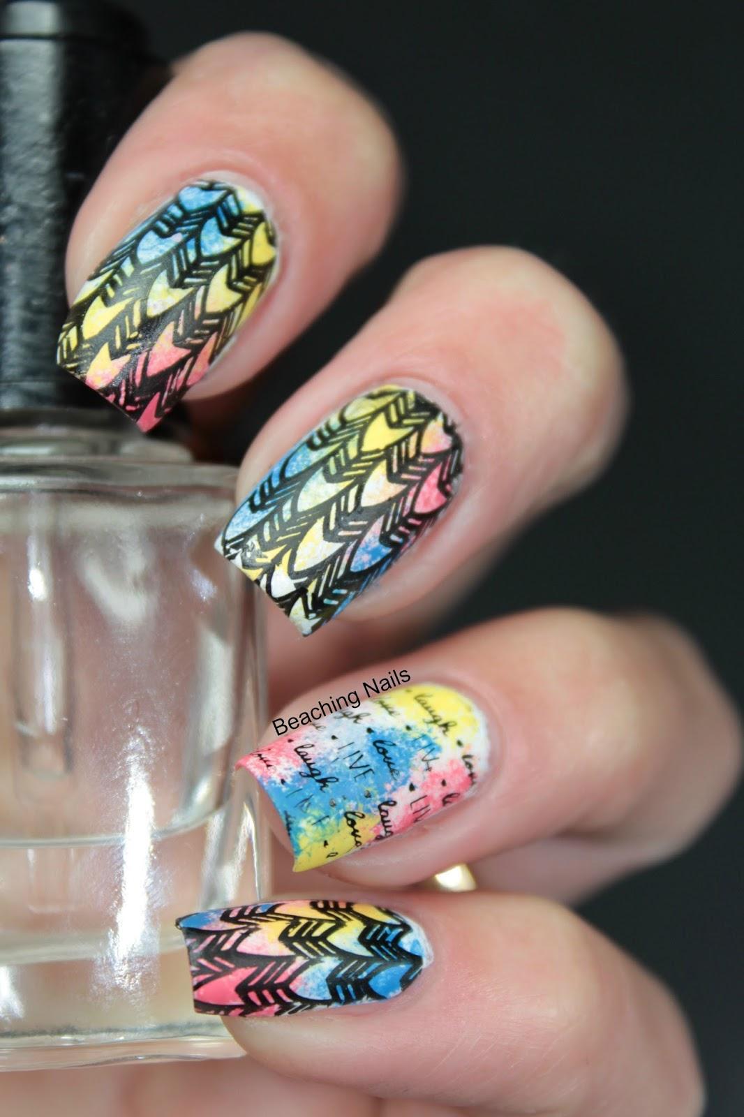 Surfer Girl aka Beaching Nails: Sponge Mani with Acrylic Paint and ...