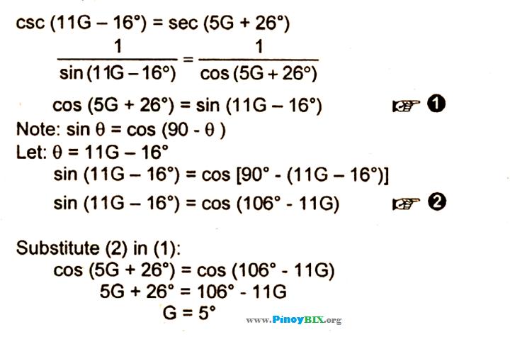 Solution: Solve for G if csc (11G – 16 degrees) = sec (5G + 26 ...